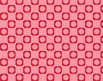 Anything Goes Basics Pink & Red Dot in Square / Checkerboard Fabric - Henry Glass