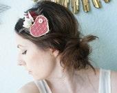 TRUE LOVE Headband -- Sweet Romantic Rustic Valentine Wedding Wood Heart Veil Vintage Pearl Flower and Feather Bride Bridal Headpiece Crown