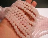 Rose quartz matte - 8mm  round - full strand - 49  beads - matte rose quartz - frosted - RFG355