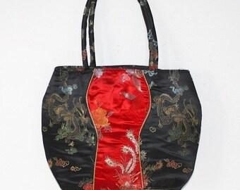 50% OFF SALE Vintage ASIAN Handbag . Black Gold Red Satin Asian Bag . Dragons Birds Floral . Tote Purse