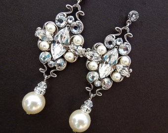 Pearl Earrings Bridal Earrings Ivory swarovski Pearls Pearl Rhinestone Earrings Bridal Pearl Earrings Bridal Rhinestone Earrings Pearl GABY