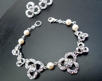 Bridal Jewelry Set Pearl Bridal Earrings Wedding Bracelet Ivory Pearl Earrings Swarovski Pearl Bridal Jewelry wedding Jewelry set  LOLA