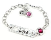 Silver Bracelet Women Gift Ideas Custom Color Crystal Pink and Silver Jewelry Chain Bracelet Love Heart Valentine's Gift for Women Plus Size