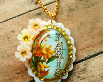 PARIS FLOWERS- 30 x 40 mm White Scalloped Laser Cut Acrylic Glass Cabochon Floral Rhinstone Cameo Necklace