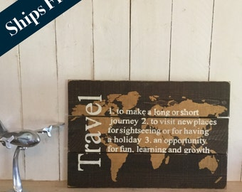 Travel Map - World Travel Map - Rustic Wood Map - Travel Decor - Travel Definition - Wooden World Map - Map Wall Hanging - Rustic World Map