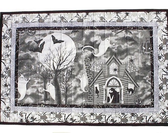 Halloween Table Topper, haunted house witch ghost black cat handmade quilted 18 x 27