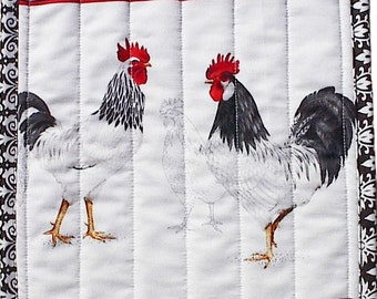 Black Tie Rooster Hot Pad, handmade quilted chicken potholder kitchen placemat b