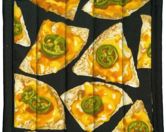 Jalapeno Pepper Nacho Pot Holder, handmade quilted potholder kitchen