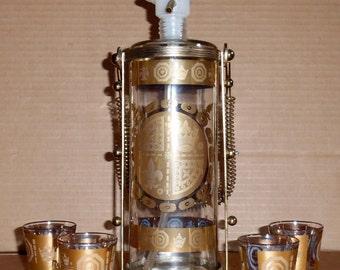 Vintage Glass Decanter & Shot Glasses Liquor Decanter Set Gold Barware Antique Glass Decanter Cordials  Barware