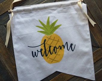 Pineapple Welcome Canvas Banner Sign, Welcome Signs, Home Decor