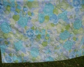 Cannon Royal Family standard pillowcase 42 x 36 blue roses with purples and greens abstract ready for pillow or next fabric repurpose