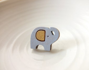 Elephant laser cut wooden tie tack pin - Nellie