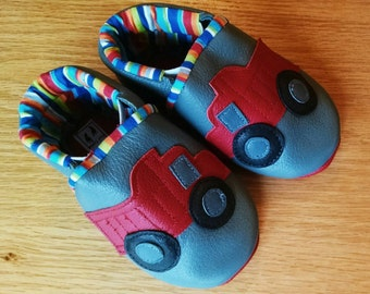 boys shoes with red trucks size 4/ 6-12/months