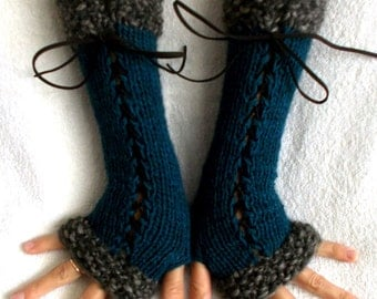 Fingerless Gloves Corset Arm Warmers in Grey Brown / Taupe and Dark Turquoise Blue Victorian Style