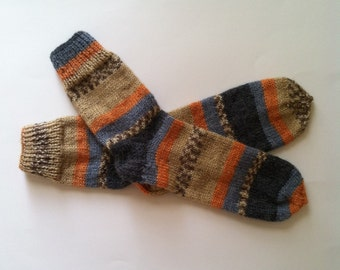 Hand Knit Soft And Warm Men's Alpaca Striped Socks, Size 10 - 10.5  (10.75 inches length) - Warm Striped Socks, Hand Made Socks, Knit Socks