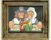 Happy Harvest Sign Pilgrim Couple, Tole or Hand Painted on Wide Weave Black Solar Screen, Reclaimed HandCrafted Barn Wood Frame,Thanksgiving