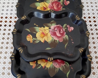 Vintage Hand Painted Small Metal Trays Set of 3 Black With Tole Flowers, Bohemian Florals, Shabby Cottage