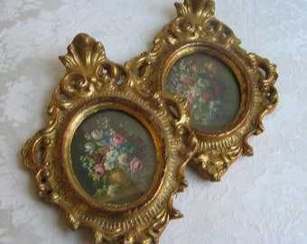 Vintage Florentine Flowers in Ornate Gold Frames by Florentia, Old World Floral Still Life Wall Art Prints, Italy