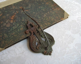 Antique Ornate Iron Hook Spike Receipt Holder, Rusty Green Metal Mercantile Hardware, Fleur De Lis Wall Decor