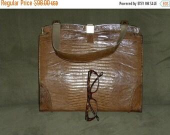 SALE Vintage 50s 60s Leather Handbag Purse Bag in Larger Size