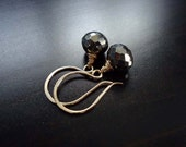 Pyrite Earrings, Wire Wrapped, Fools Gold, Dangle Earrings, 14kt Gold Filled