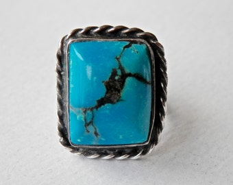 Vintage Navajo Turquoise Ring Sterling Silver Southwestern Native American Jewelry Size 6.5 Ring Blue Turquoise