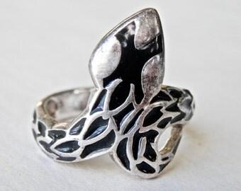 Cobra Ring, Black Enamel, Sterling Silver Snake Ring, Vintage Goth, Asian Jewelry, Snake Jewelry