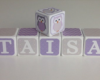 Lavender and Gray Baby Name Blocks, Lavender and Gray Baby Shower Decoration