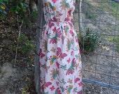 butterfly maxi, batik print long dress, hippy, summer, beach, large, XL