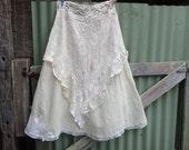 "calico + lace long skirt, boho hippy maxi, waist up to 40 """