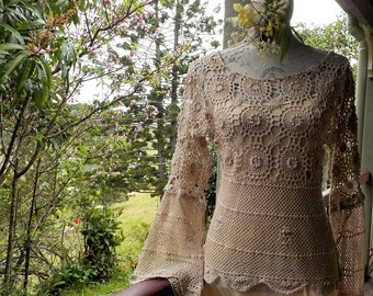 bohemian crochet top, alternative couture, hippy, beach, festival, small / medium