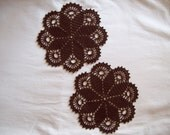 Pair Fudge Brown Crochet doilies, Doily, Dark Brown, 7 inches, Handmade Doily, Crochet Lace, Set of two