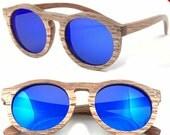 Sale - 40%off 1960's round handmade sunglasses skateboard wood glasses