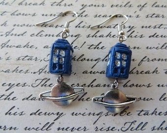 Dangling Doctor Who Inspired Earrings with TARDIS and Silver Planets