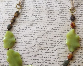 Leather Picasso Jasper And Green Stone Leaf Beaded Necklace
