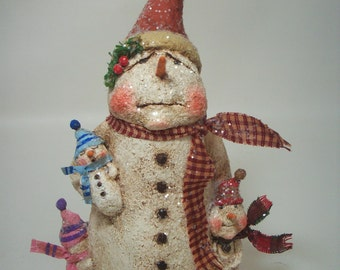 Pregnant snowlady with children Snowman Snow Lady Mom Pregnant Paper Mache Folk Art Whimsical