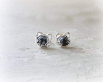 Tiny Cat Earrings, Spotted Cat Earrings, Small Cat Studs, Sterling Cat Earrings, Kitty Jewelry, Cat Lover Gift, Sterling Posts, Cat Jewelry