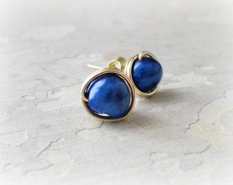 Royal Blue Posts, Freshwater Pearl Stud Earrings, Cobalt Post Earrings,Gold Post Earrings, Wire Wrapped Studs,Blue Stud Earrings, Gold Studs