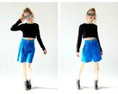 "Blue Suede Shorts- Culottes, 27"" Waist, Electric Neon 90s Long Wide Shorts, Danier"