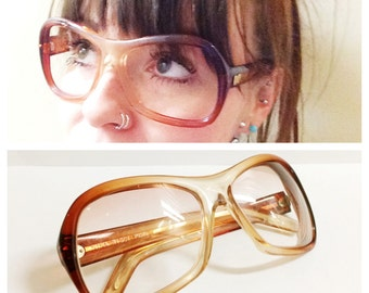 1960s NINA RICCI Glasses Frames- Vintage Eyewear, Sunglasses, Mod Thick Statement, Orange Lucite Chunky Parisian