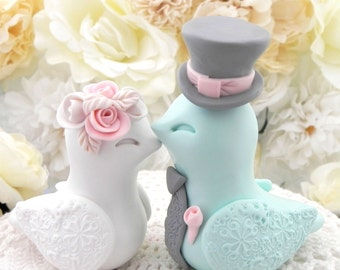 Love Birds Wedding Cake Topper, White, Vintage Pink, Mint Green and Grey, Bride and Groom Keepsake, Fully Customizable