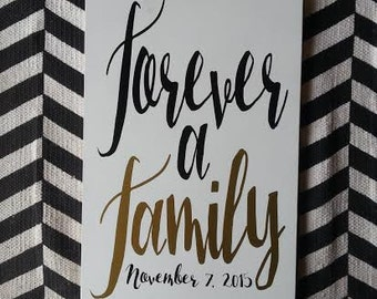 Family Sign, Wedding Decor, Forever a Family Sign, Family Gift, Family Sealing, LDS sign, Wedding Gift, Home Decor, Personalized Sign