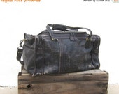 SALE out of town Duffle Bag Black Distressed and Eggplant Purple Leather Travel Bag By Land