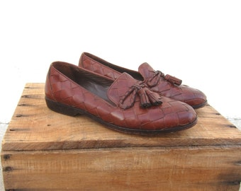 1990s Cole Haan Brown Woven Leather Tasseled Bow Loafers Driving Shoes Ladies Size 6.5