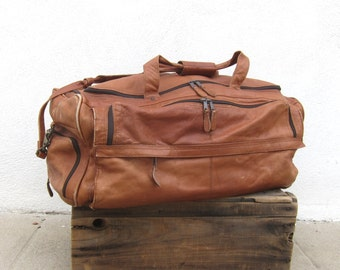 80s Giant Duffle Bag Worn In Tan Travel Bag w/Shoulder Strap