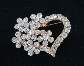 10-02 Rhinestone Heart Brooch, Heart Pin, Vintage Style Brooch,Valentine Gift