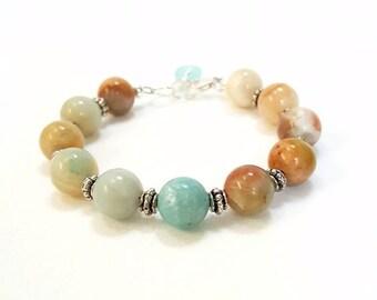 Boho Bracelet, Sea Glass Bracelet, Hippie Bracelet, Stone Bracelet, Amazonite Bracelet, Beachy Bracelet, Earthy Bracelet, Beach Bracelet