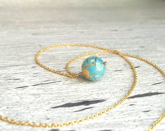 Wanderlust Necklace - 14K gold fill chain - tiny turquoise gemstone world globe pendant - Earth charm travel graduate friend moving gift