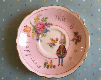 This is Happiness iris Bunny Vintage Illustrated Plate