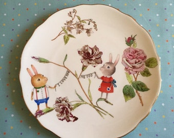 I Love You, You Love Me Bunny Couple with Carnations and Roses Vintage Illustrated Large Plate